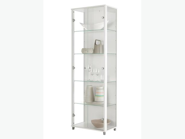 Bargain Double Glass Display Cabinet in White, Black or Silver + FREE Delivery*