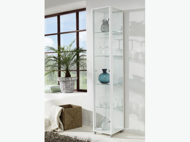 Bargain Single Door Glass Display Cabinet - White, Black or Silver