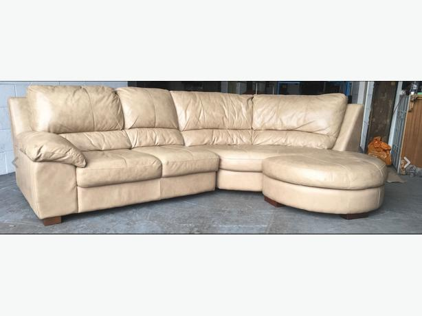 Thick Tan Aniline Leather Corner Sofa WE DELIVER UK WIDE