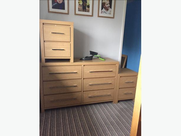 2 bedside tables and 1 drawer
