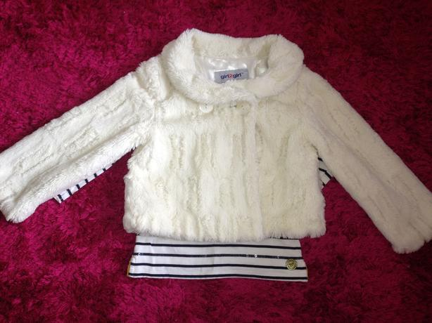 White Faux Fur jacket size 5-6 years