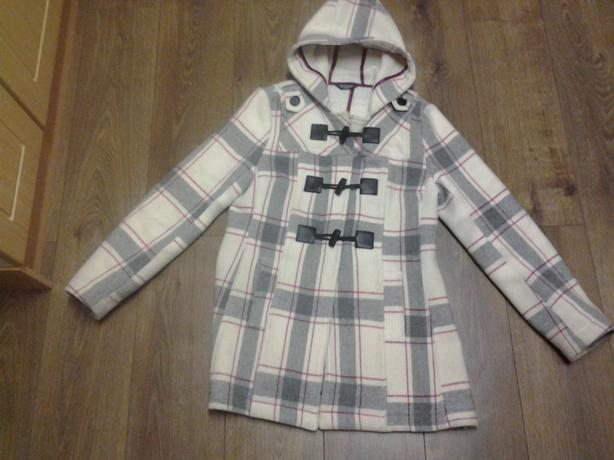 Full Circle Size medium Women's Hooded Check Duffle Coat In Good Condition