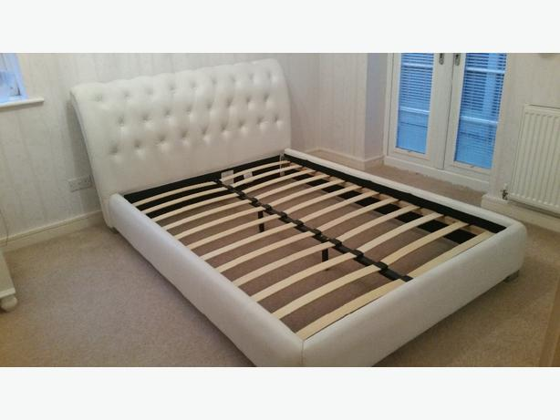 White Leather Look Double Bed