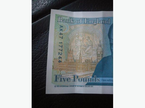 Plastic £5 Note.