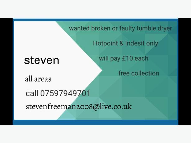 wanted broken or faulty tumble dryers