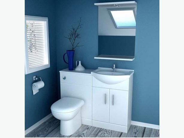 white Vanity unit set, toilet & cistern soft close toilet seat, & basin unit