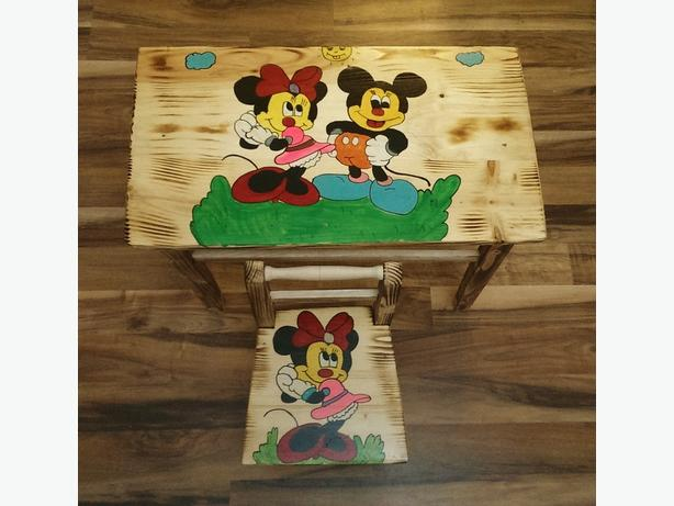 Solid Wood Set Children Table and Chair.
