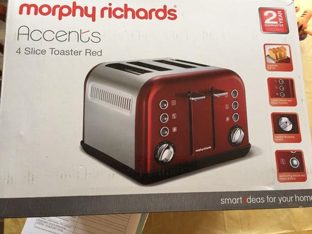 morphy richards red accents 4 slice toaster 242004 walsall sandwell. Black Bedroom Furniture Sets. Home Design Ideas