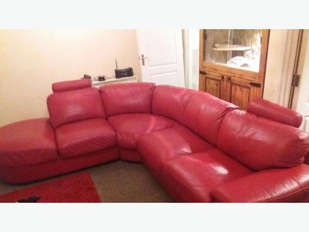 Red Leather Corner Sofa And Armchair Dudley Sandwell