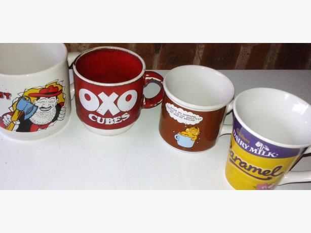vintage gafield mug + desprate dan mug + cadbury dairy milk mug oxo mug