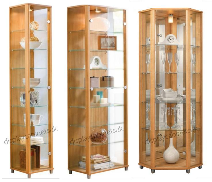 Corner Exhibition Stands Price : Home oak glass display cabinets single double or
