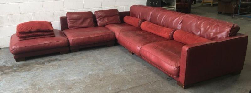 Large Corner Sofa Dfs: £3500 DFS California Large Red Leather Modular Corner Sofa