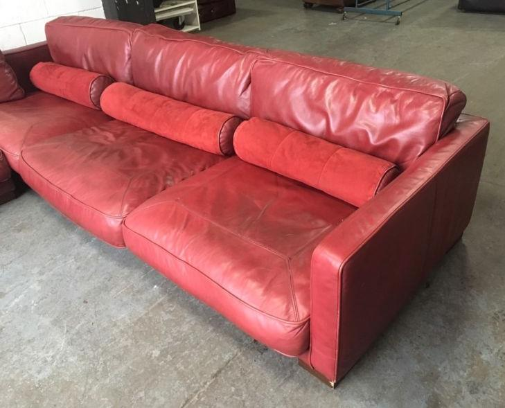 Gbp3500 dfs california large red leather modular corner sofa for Red leather modular sectional sofa