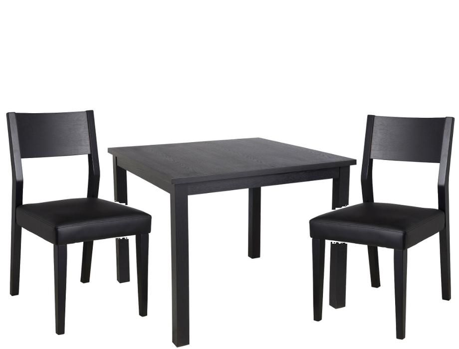hygena square dining table and 2 chairs solid wood black