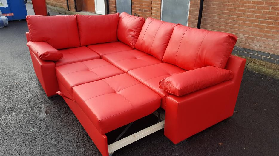 Brand new red leather corner sofa bed with storage can for Leather corner sofa beds uk