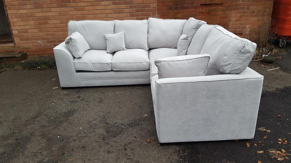 large brand new light grey fabric corner deliver. Black Bedroom Furniture Sets. Home Design Ideas