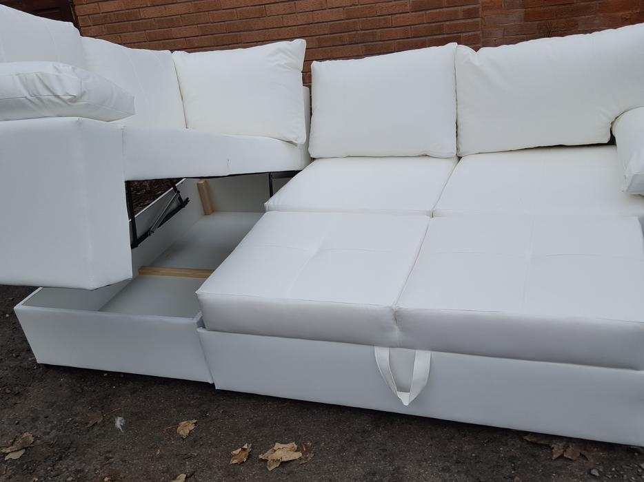 Brand new white leather corner sofa bed storage can for Leather corner sofa beds uk