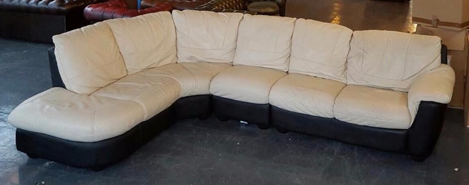 DFS Large Black&Cream Leather Corner Sofa. WE DELIVER