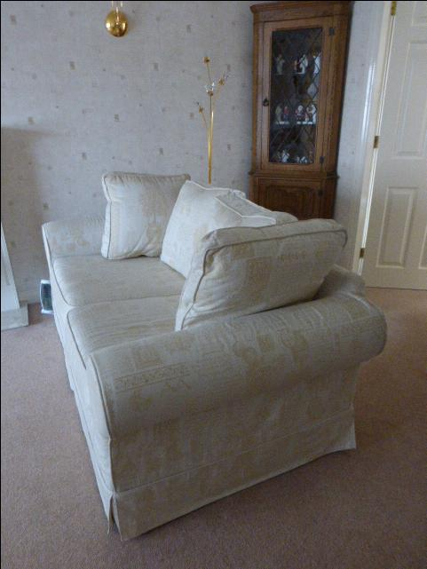 2 seater settee sofa cream removable washable covers