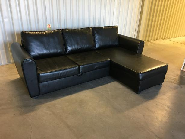 Corner sofa bed black leather very good condition for Sofa bed very