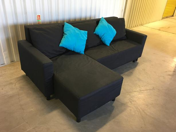 Ikea corner sofa bed in very good condition black fabric for Sofa bed very