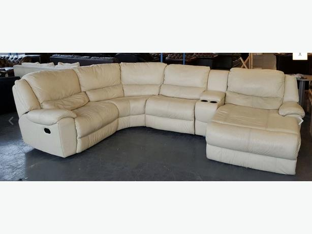 Rrp 3000 dfs huge leather corner sofa lounger recliner cup holders we deliver smethwick Loveseat with cup holders