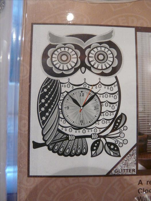 room decor embellishment art owl wall clock peel stick