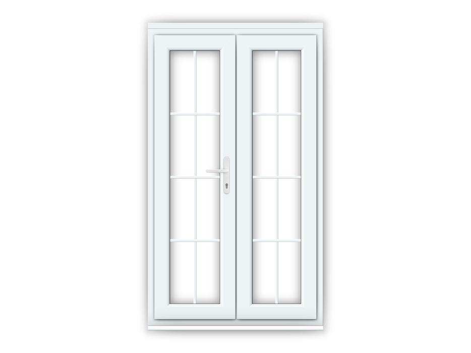 White upvc french doors with geogian bar 1200mm x 2100mm for Upvc internal french doors