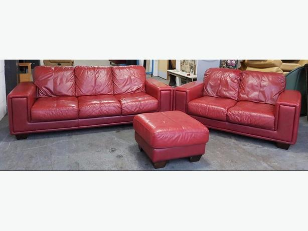 Harvey S Cherry Red Leather 3pc Sofa Set We Deliver