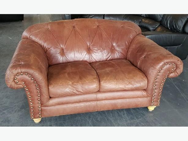 Thomas Lloyd Chesterfield Aniline Leather Distressed Style Sofa WE DELIVER Smethwick, Wolverhampton