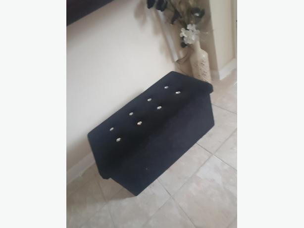 black ottoman with diamantés