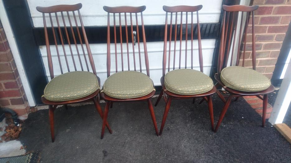 Vintage Ercol Drop Leaf Dining Room Table 6 Ercol Chairs 2