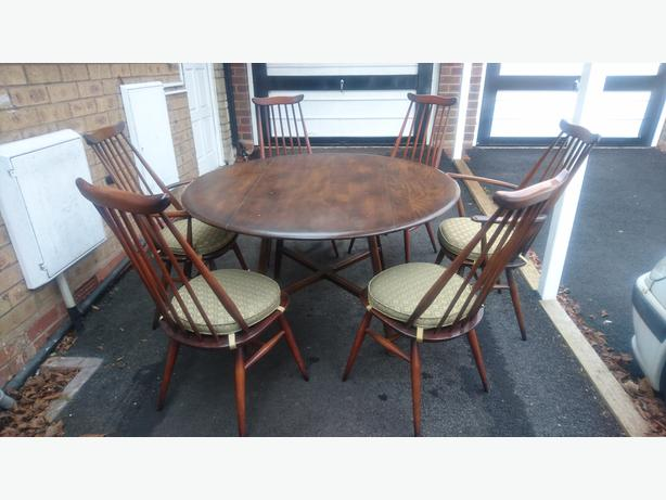 VINTAGE ERCOL DROP LEAF DINING ROOM TABLE 6 ERCOL CHAIRS 2  : 106371606614 from www.useddudley.co.uk size 614 x 461 jpeg 40kB