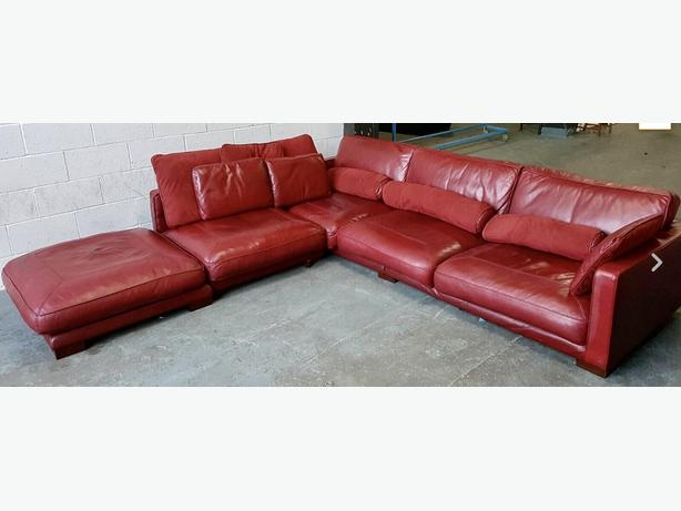 Rrp 163 3500 Huge Dfs California Wine Red Leather Corner