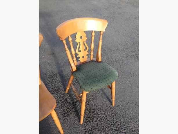 SET OF SIX SOLID BEECH WOOD FARMHOUSE FIDDLE BACK DINING CHAIRS ~~ CAN DELIVER Brierley Hill ...