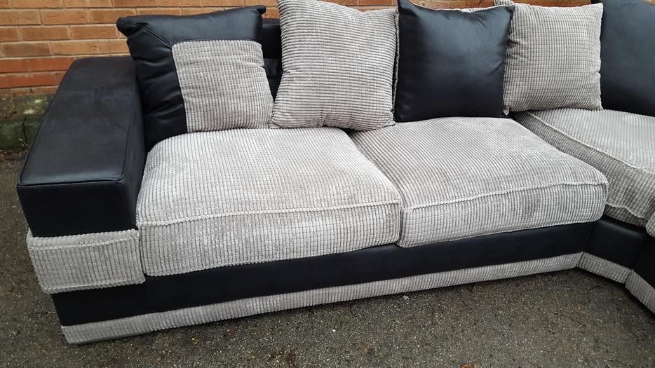 brand new large black grey cord corner deliver sandwell wolverhampton. Black Bedroom Furniture Sets. Home Design Ideas