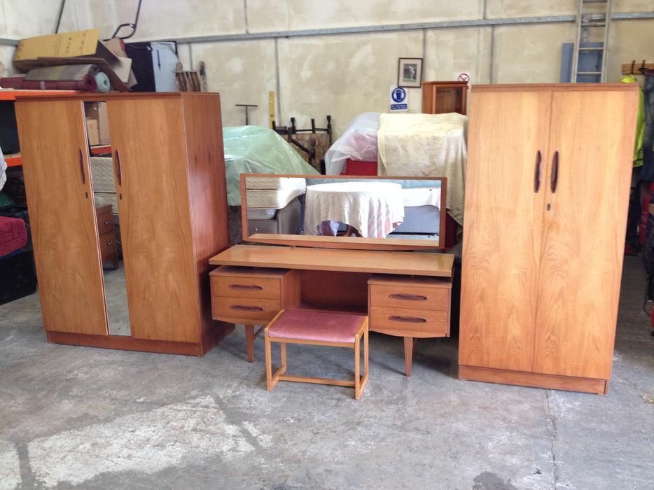 Teak wood bedroom suite wardrobes dressing table g for G plan bedroom suite