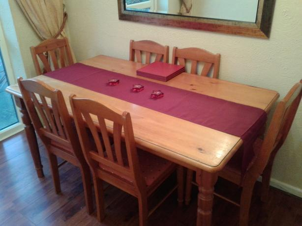 Solid Wood Pine Dining Table and 6 Chairs 150 cm x 90 cm  : 106419900614 from www.usedwolverhampton.co.uk size 614 x 460 jpeg 33kB