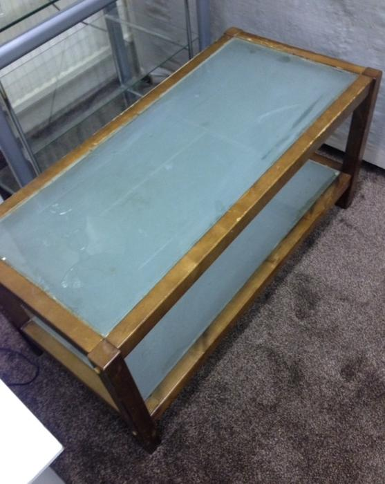 Nice wooden 2 tier coffee table with frosted glass inserts for Wood coffee table with glass insert