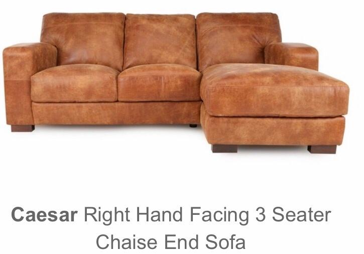 Caesar right hand facing 3 seater chaise end sofa dudley for Brown leather chaise end sofa
