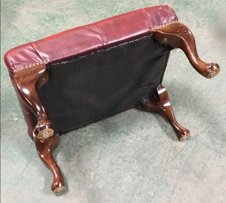 Ox Blood Red Leather Chesterfield Footstool We Deliver Uk