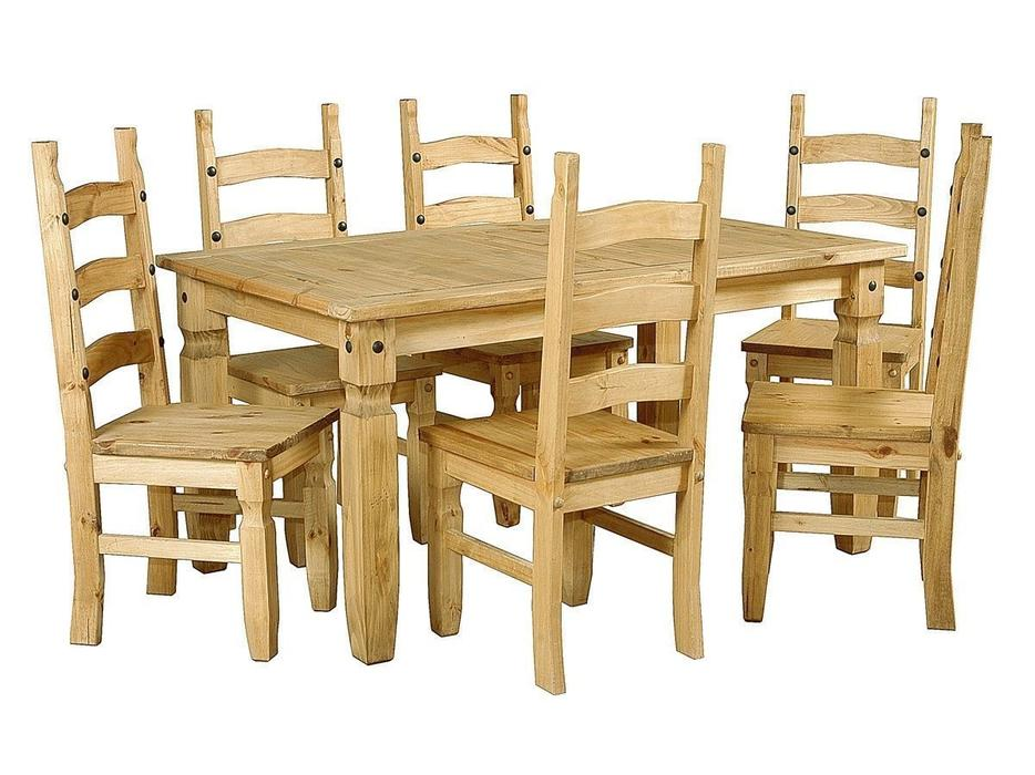 CORONA MEXICAN PINE DINING SET Outside Black Country