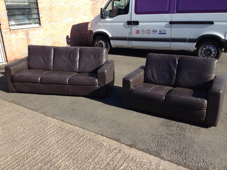 BROWN LEATHER SOFAS 2 AND 3 SEATER CAN DELIVER  : 106472833934 from www.useddudley.co.uk size 934 x 700 jpeg 125kB