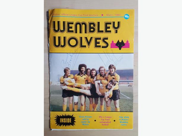 autographed part of wolves 1980 league cup final program