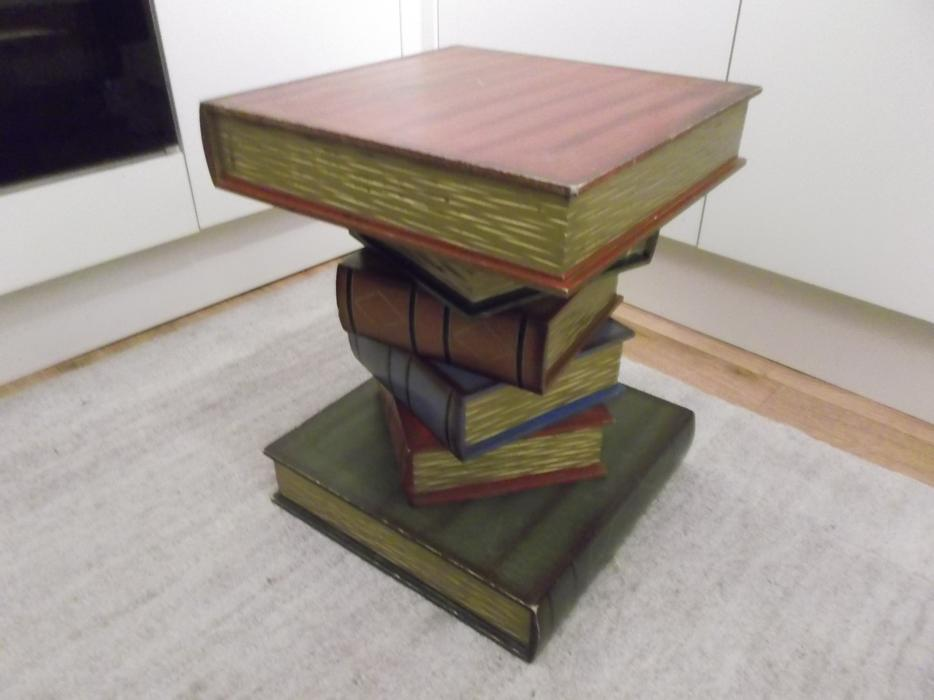 Wooden Stacked Book Side End Drinks Table Plant Lamp Stand