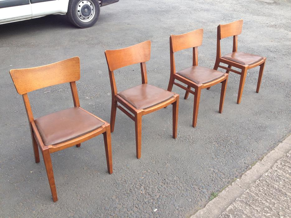 SET OF FOUR PARKER KNOLL VINTAGE SOLID OAK WOOD DINING