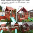 play hut with slide and pole