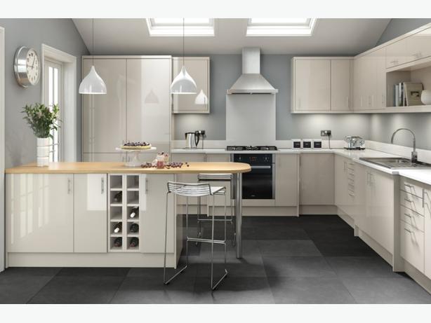 7 Piece Kitchen Units - Warm Grey Gloss - BRAND NEW