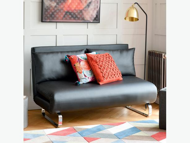 Dwell - Stylus faux leather sofa bed black - Rrp £649