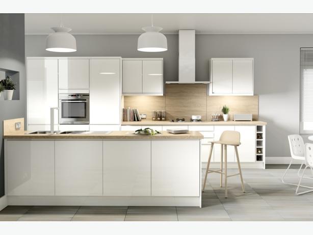 7 Piece Kitchen Units - White Gloss Handleless - BRAND NEW